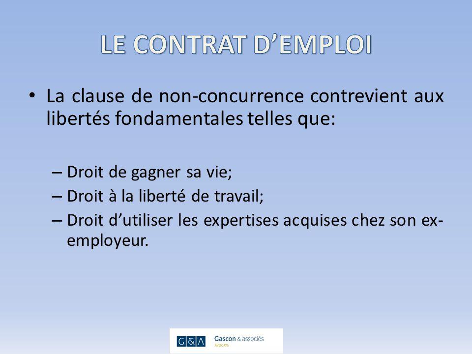 3-UN TERRITOIRE DÉTERMINÉ Le territoire doit être établi en fonction de ce qui est nécessaire à la protection des intérêts légitimes de lemployeur.