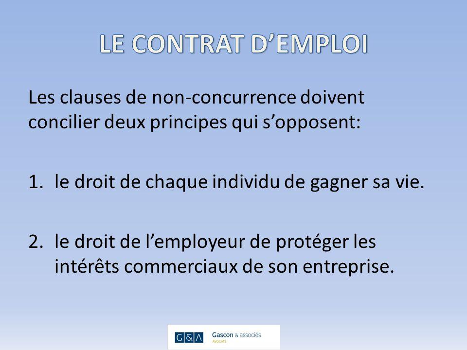 Les clauses de non-concurrence doivent concilier deux principes qui sopposent: 1.le droit de chaque individu de gagner sa vie.