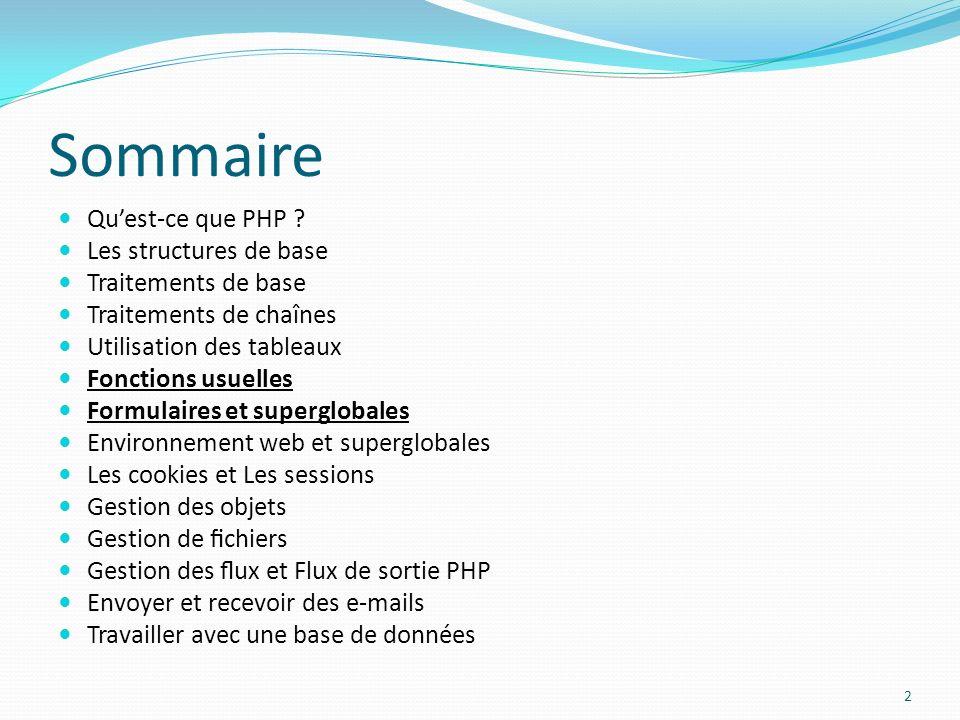 Sommaire Quest-ce que PHP .