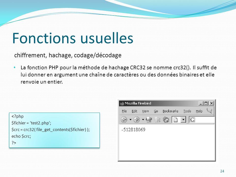 chiffrement, hachage, codage/décodage Fonctions usuelles 24 La fonction PHP pour la méthode de hachage CRC32 se nomme crc32().