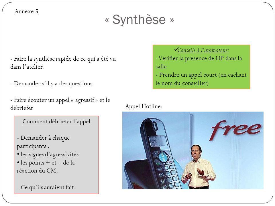 « Synthèse » Annexe 5 Conseils à lanimateur: - Vérifier la présence de HP dans la salle - Prendre un appel court (en cachant le nom du conseiller) - F