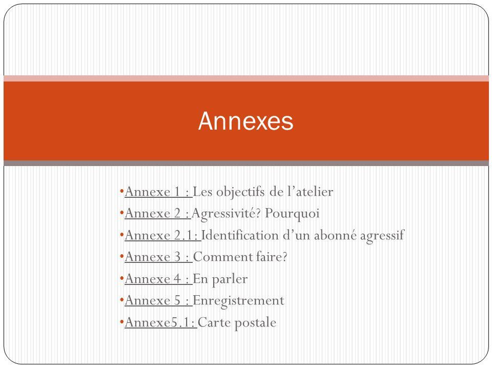 Annexe 1 : Les objectifs de latelier Annexe 2 : Agressivité? Pourquoi Annexe 2.1: Identification dun abonné agressif Annexe 3 : Comment faire? Annexe