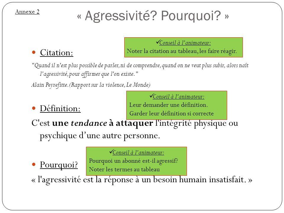 « Agressivité? Pourquoi? » Citation: