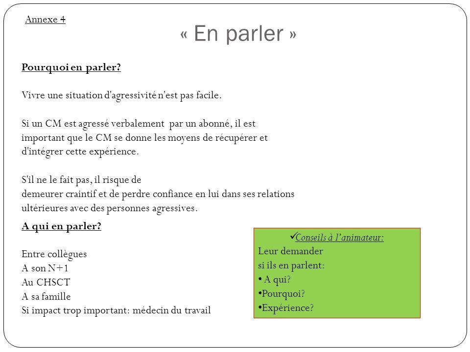 « Synthèse » Annexe 5 Conseils à lanimateur: - Vérifier la présence de HP dans la salle - Prendre un appel court (en cachant le nom du conseiller) - Faire la synthèse rapide de ce qui a été vu dans latelier.