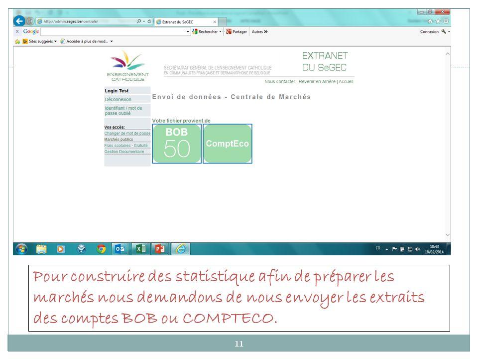 11 Pour construire des statistique afin de préparer les marchés nous demandons de nous envoyer les extraits des comptes BOB ou COMPTECO.