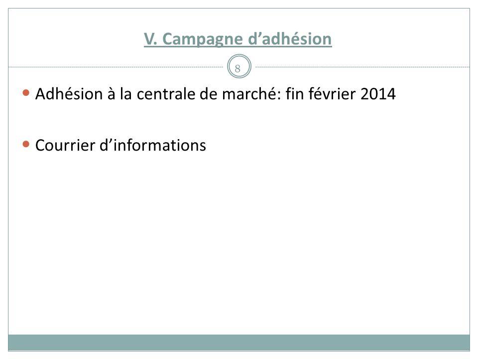V. Campagne dadhésion 8 Adhésion à la centrale de marché: fin février 2014 Courrier dinformations
