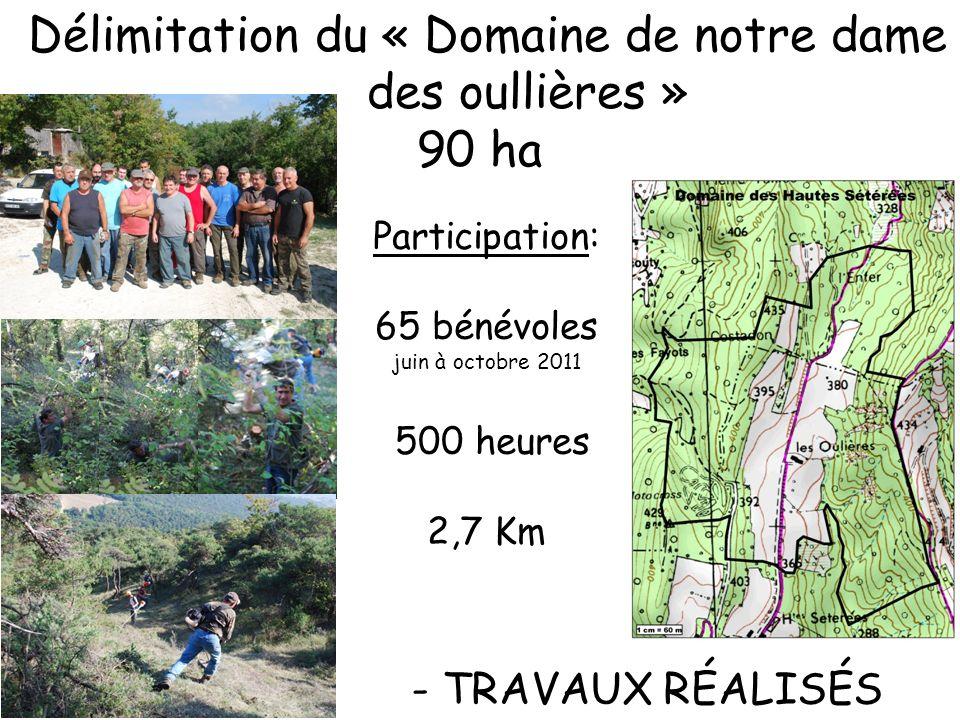 Aménagement des postes de chasse Participation: 10 bénévoles septembre à novembre 2011 80 heures 2 journées de chasse: -Battue féminines - Battues jeunes chasseurs -Battue bénévoles - TRAVAUX RÉALISÉS