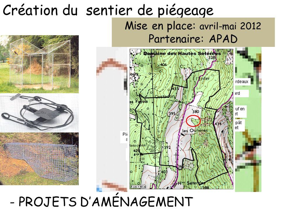 - PROJETS DAMÉNAGEMENT Création du sentier de piégeage Mise en place: avril-mai 2012 Partenaire: APAD