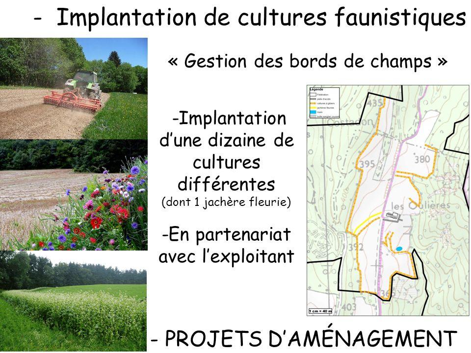 -Implantation de cultures faunistiques - PROJETS DAMÉNAGEMENT -Implantation dune dizaine de cultures différentes (dont 1 jachère fleurie) -En partenar