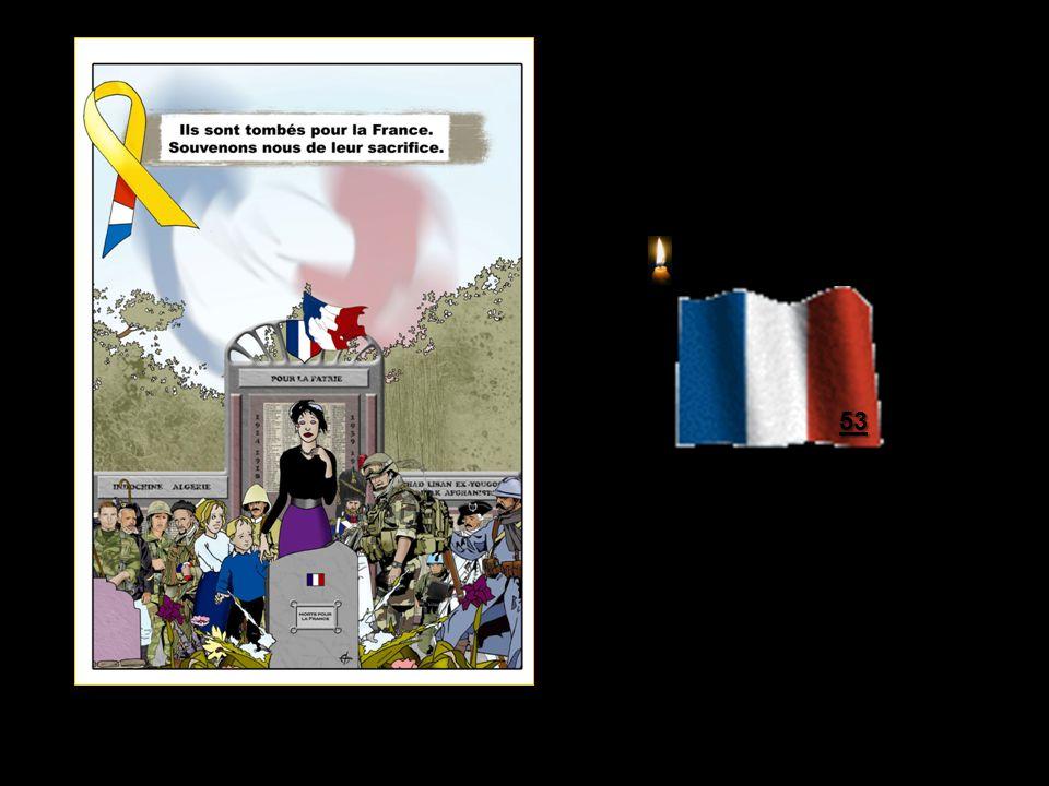 « Aux morts » 14 Janvier 2011 À ce jour 14 Janvier 2011, 53 militaires 53 militaires Français sont tombés au combat en Afghanistan…dans lindifférence presque générale…médias et politiques… La France est sur ce théâtre dopération depuis 2001 avec un effectif actuel de 3750 soldats.