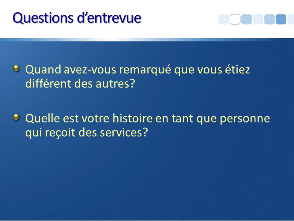 Résultats préliminaires Q 1 Conscience de leurs différences Une trame commune, 3 profils et des stratégies Q2 Expérience au contact des services Besoins de services