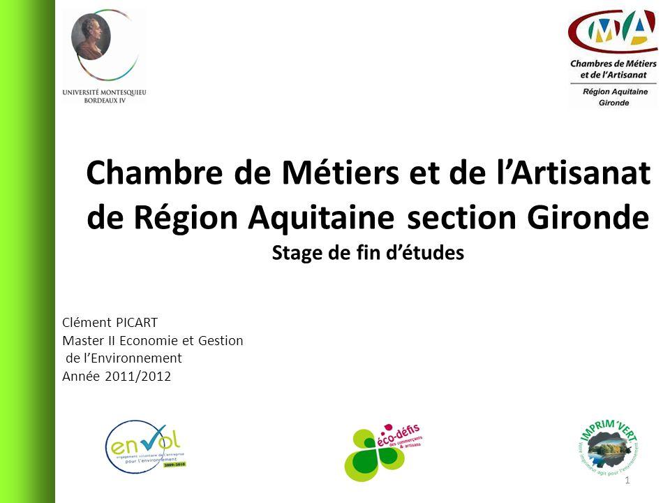 Chambre de Métiers et de lArtisanat de Région Aquitaine section Gironde Stage de fin détudes Clément PICART Master II Economie et Gestion de lEnvironn