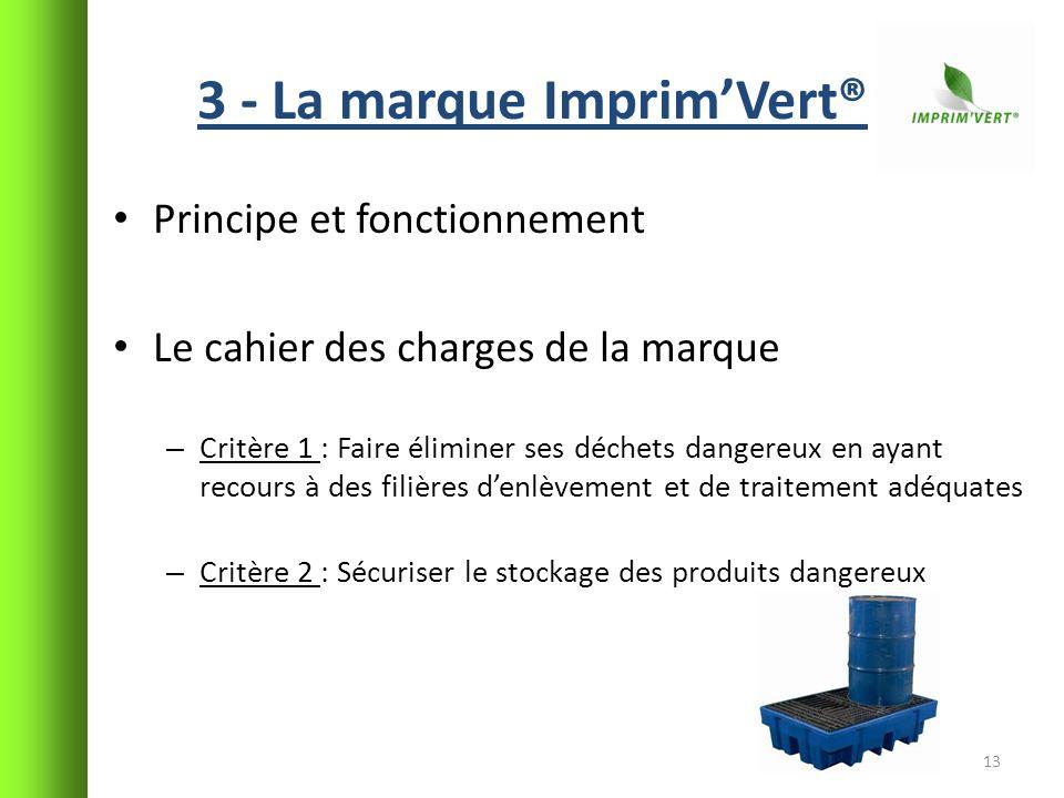 3 - La marque ImprimVert® Principe et fonctionnement Le cahier des charges de la marque – Critère 1 : Faire éliminer ses déchets dangereux en ayant re