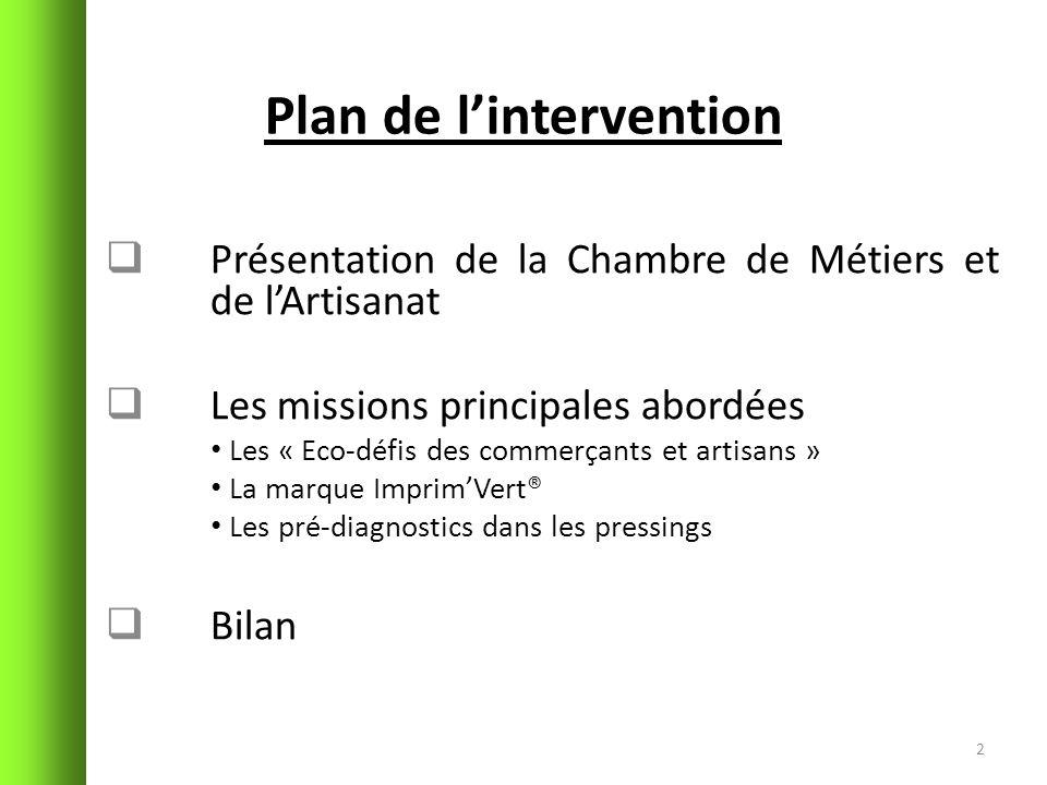 Plan de lintervention Présentation de la Chambre de Métiers et de lArtisanat Les missions principales abordées Les « Eco-défis des commerçants et arti