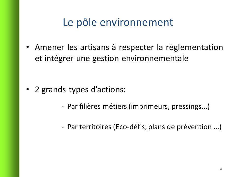 Le pôle environnement Amener les artisans à respecter la règlementation et intégrer une gestion environnementale 2 grands types dactions: -Par filière
