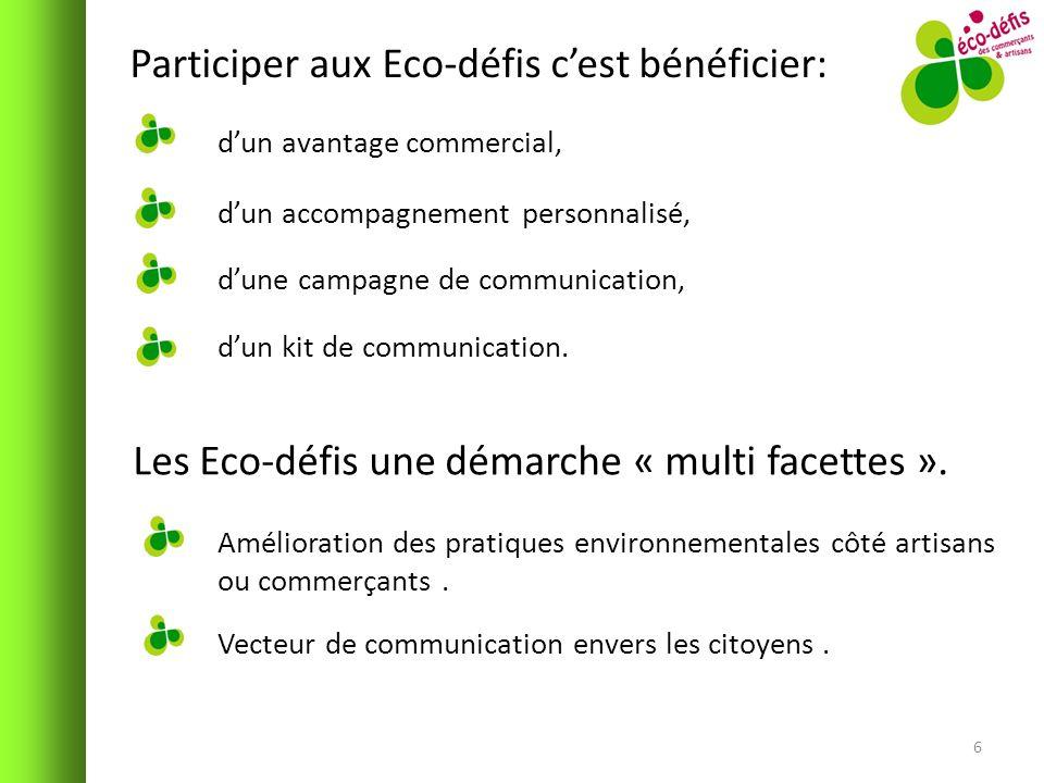 Participer aux Eco-défis cest bénéficier: 6 dun avantage commercial, dun accompagnement personnalisé, dune campagne de communication, dun kit de commu