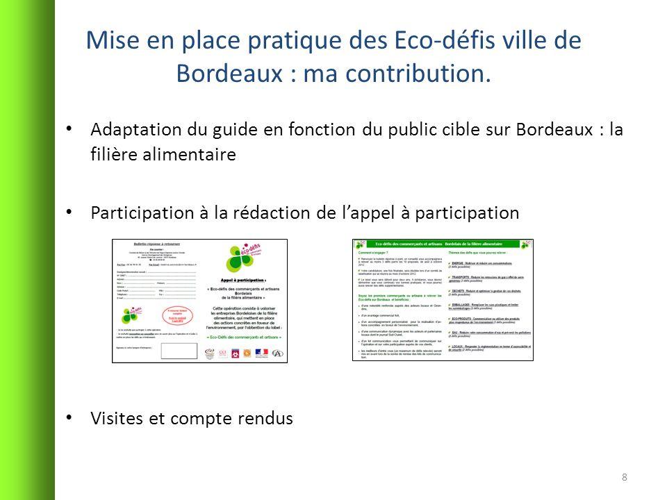 Mise en place pratique des Eco-défis ville de Bordeaux : ma contribution. Adaptation du guide en fonction du public cible sur Bordeaux : la filière al