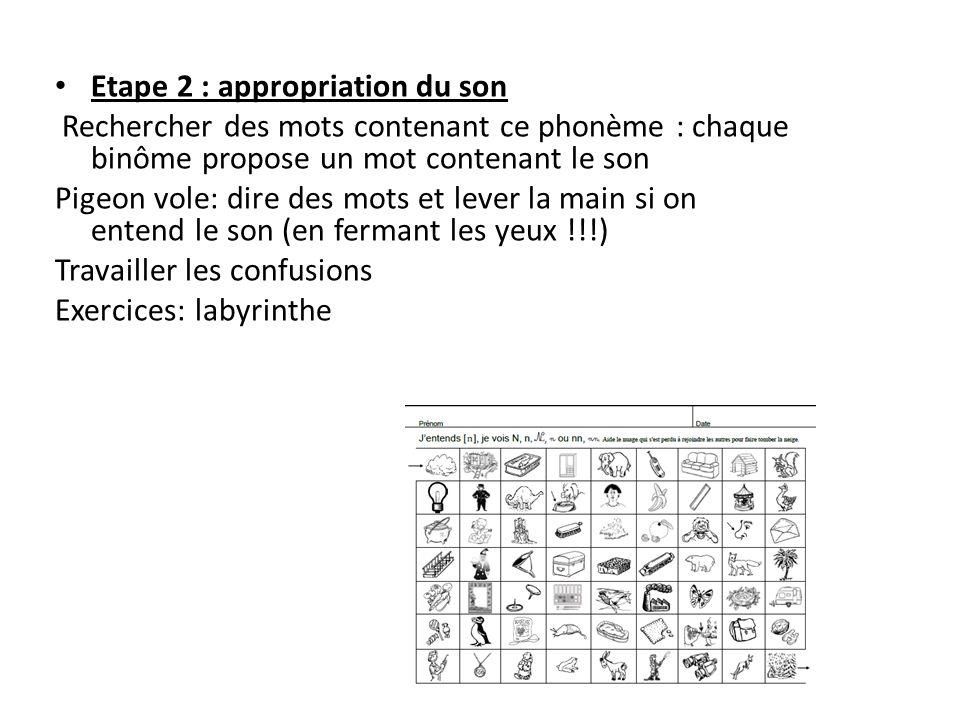 Etape 2 : appropriation du son Rechercher des mots contenant ce phonème : chaque binôme propose un mot contenant le son Pigeon vole: dire des mots et