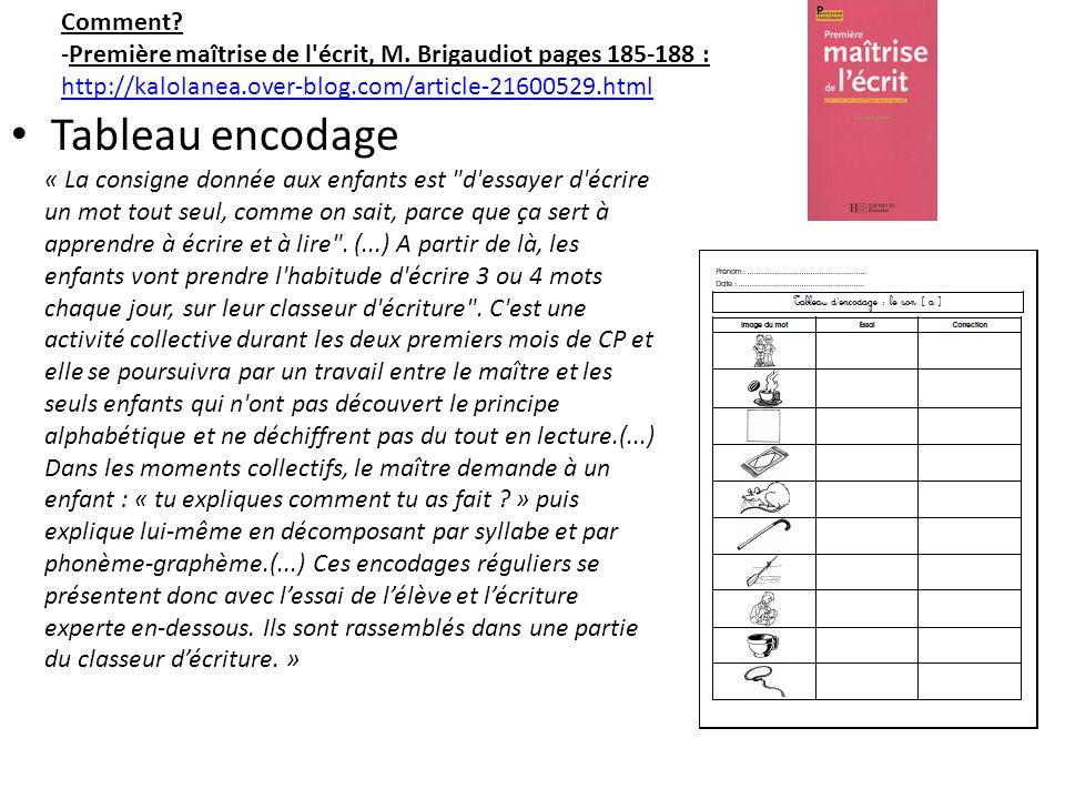Tableau encodage Comment? -Première maîtrise de l'écrit, M. Brigaudiot pages 185-188 : http://kalolanea.over-blog.com/article-21600529.html « La consi