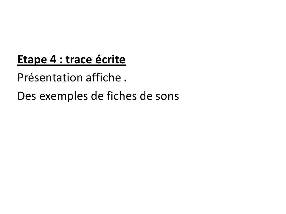 Etape 4 : trace écrite Présentation affiche. Des exemples de fiches de sons