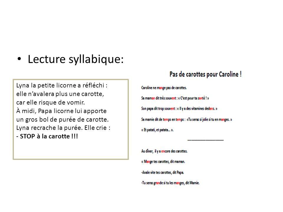Lecture syllabique: Lyna la petite licorne a réfléchi : elle navalera plus une carotte, car elle risque de vomir. À midi, Papa licorne lui apporte un