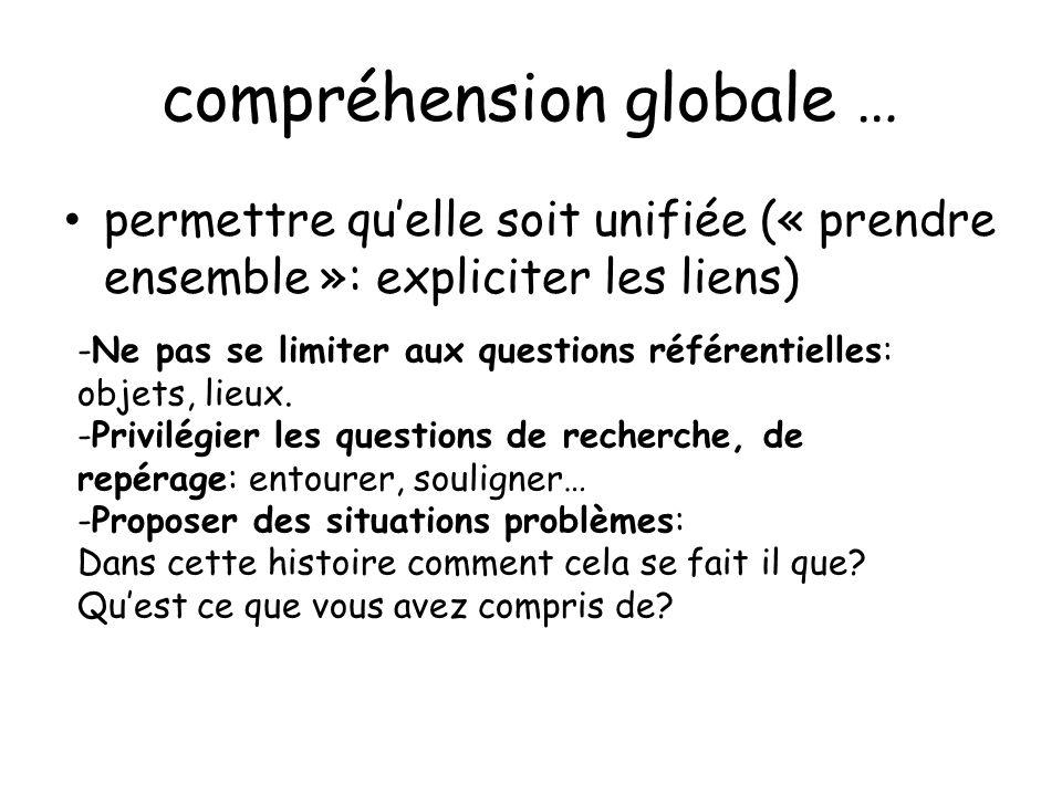 compréhension globale … permettre quelle soit unifiée (« prendre ensemble »: expliciter les liens) -Ne pas se limiter aux questions référentielles: ob