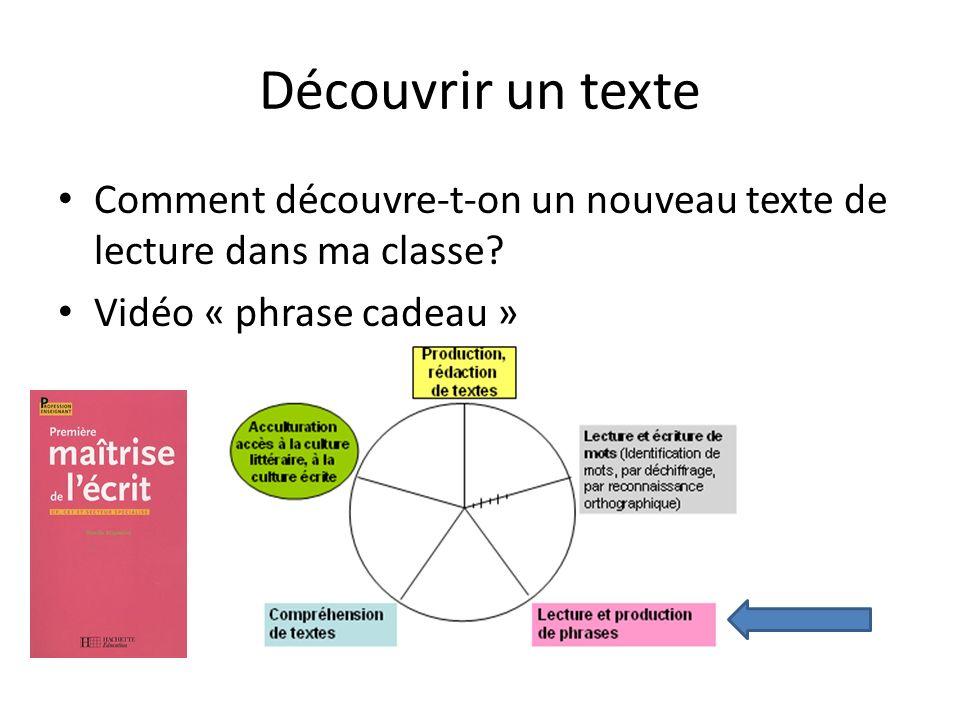 Découvrir un texte Comment découvre-t-on un nouveau texte de lecture dans ma classe? Vidéo « phrase cadeau »