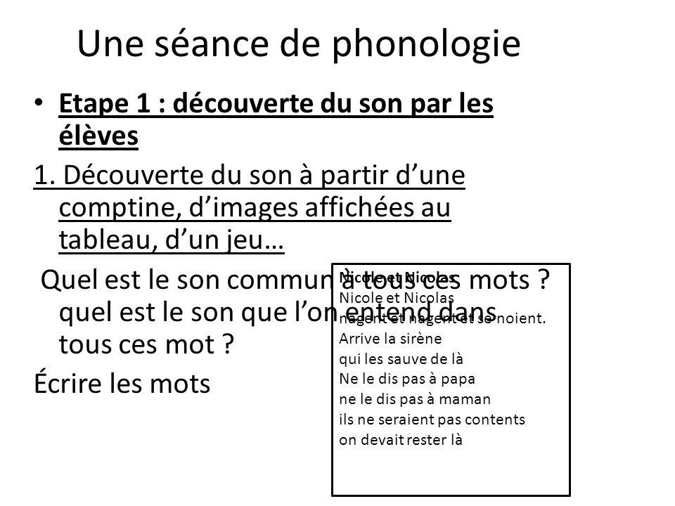 Une séance de phonologie Etape 1 : découverte du son par les élèves 1. Découverte du son à partir dune comptine, dimages affichées au tableau, dun jeu