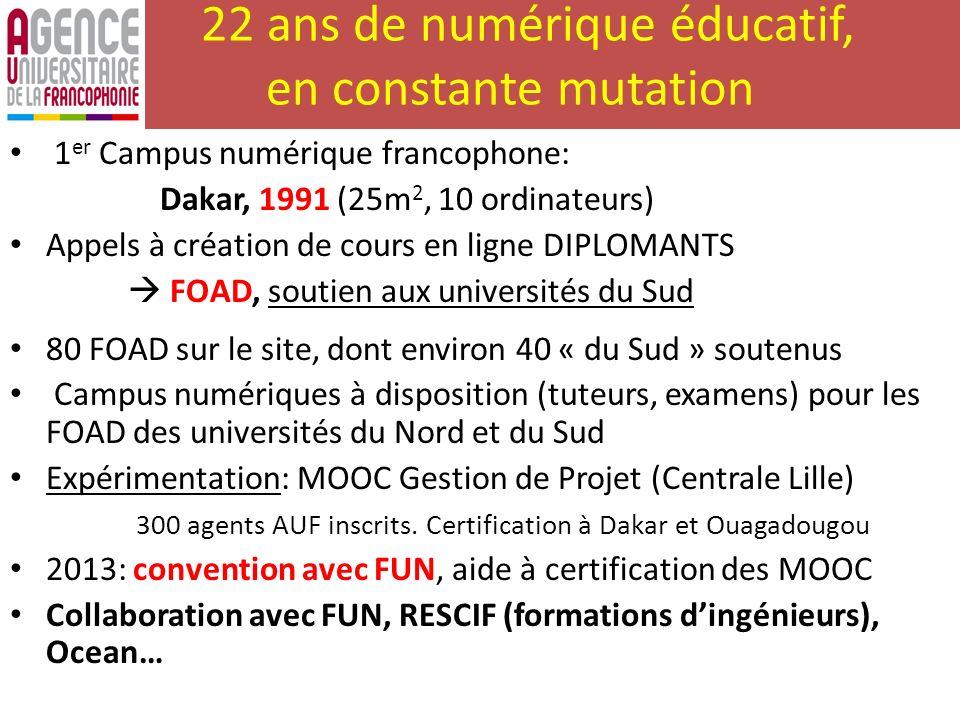 22 ans de numérique éducatif, en constante mutation 1 er Campus numérique francophone: Dakar, 1991 (25m 2, 10 ordinateurs) Appels à création de cours