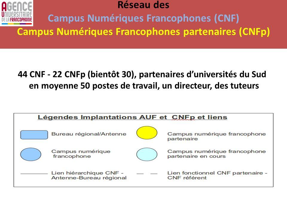 Réseau des Campus Numériques Francophones (CNF) Campus Numériques Francophones partenaires (CNFp) 44 CNF - 22 CNFp (bientôt 30), partenaires duniversi
