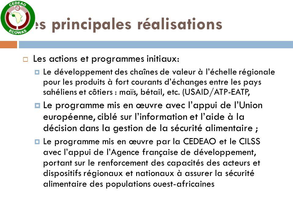 Les principales réalisations Les actions et programmes initiaux: Le développement des chaînes de valeur à léchelle régionale pour les produits à fort courants déchanges entre les pays sahéliens et côtiers : maïs, bétail, etc.