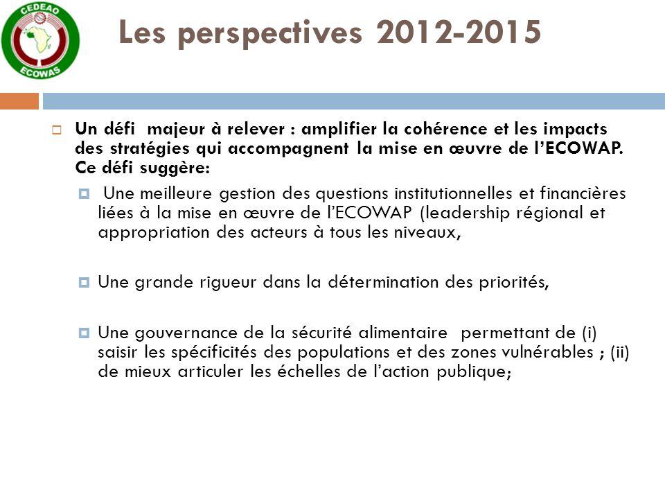 Les perspectives 2012-2015 Un défi majeur à relever : amplifier la cohérence et les impacts des stratégies qui accompagnent la mise en œuvre de lECOWAP.