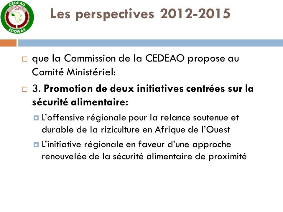 Les perspectives 2012-2015 que la Commission de la CEDEAO propose au Comité Ministériel: 3.