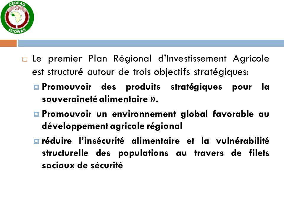 Le premier Plan Régional dInvestissement Agricole est structuré autour de trois objectifs stratégiques: Promouvoir des produits stratégiques pour la souveraineté alimentaire ».