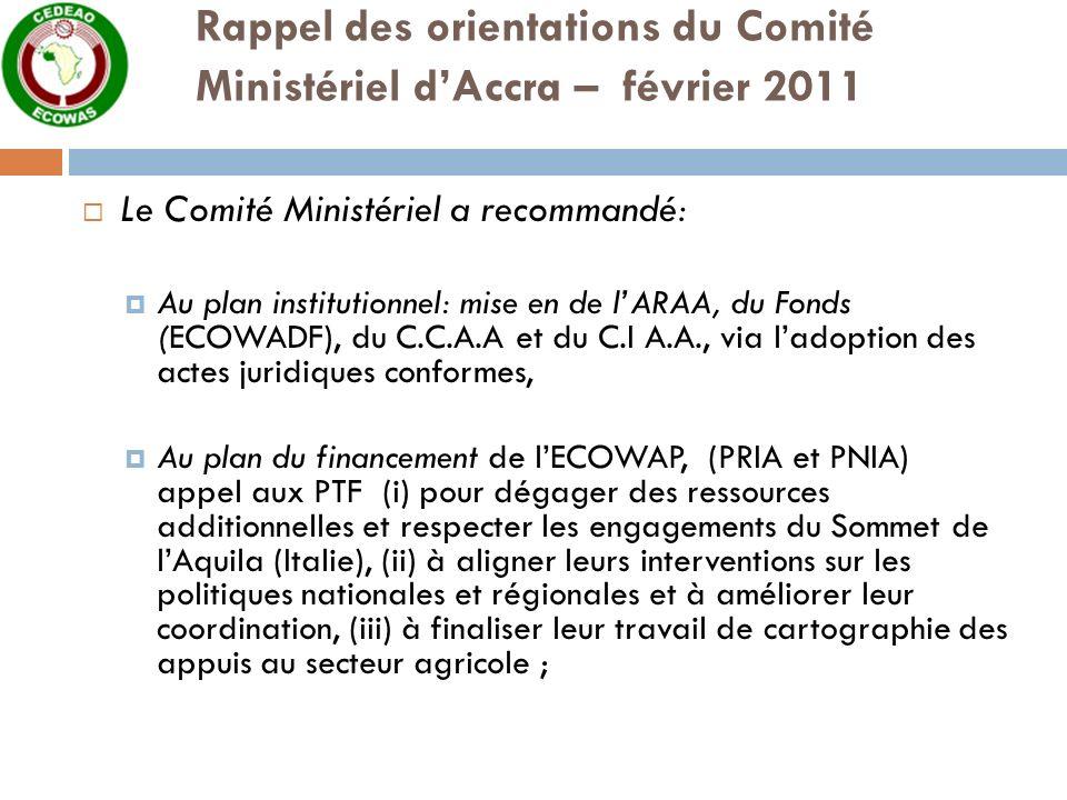 Rappel des orientations du Comité Ministériel dAccra – février 2011 Le Comité Ministériel a recommandé: Au plan institutionnel: mise en de lARAA, du Fonds (ECOWADF), du C.C.A.A et du C.I A.A., via ladoption des actes juridiques conformes, Au plan du financement de lECOWAP, (PRIA et PNIA) appel aux PTF (i) pour dégager des ressources additionnelles et respecter les engagements du Sommet de lAquila (Italie), (ii) à aligner leurs interventions sur les politiques nationales et régionales et à améliorer leur coordination, (iii) à finaliser leur travail de cartographie des appuis au secteur agricole ;