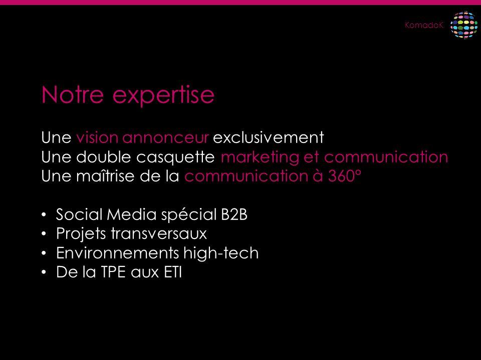 KomadoK Notre expertise Une vision annonceur exclusivement Une double casquette marketing et communication Une maîtrise de la communication à 360° Soc