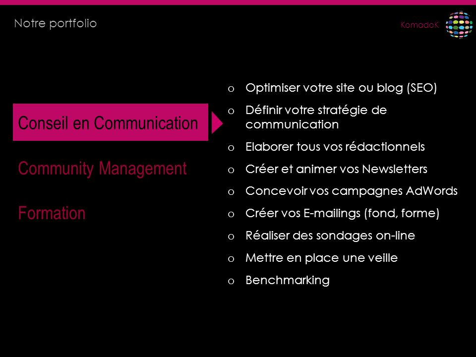 KomadoK Conseil en Communication Community Management Formation o Optimiser votre site ou blog (SEO) o Définir votre stratégie de communication o Elab
