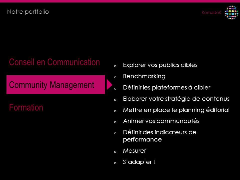 KomadoK Conseil en Communication Community Management Formation o Explorer vos publics cibles o Benchmarking o Définir les plateformes à cibler o Elab