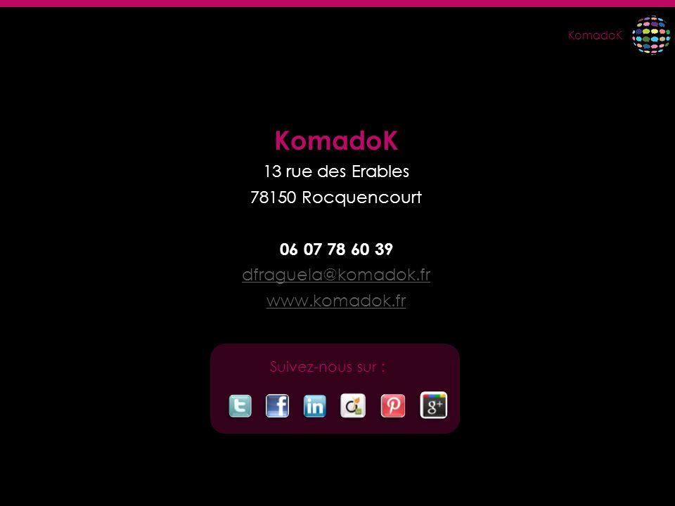 KomadoK 13 rue des Erables 78150 Rocquencourt 06 07 78 60 39 dfraguela@komadok.fr www.komadok.fr Suivez-nous sur :
