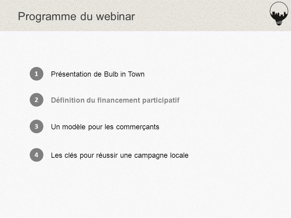 Programme du webinar 1 Présentation de Bulb in Town 2 Définition du financement participatif 3 Un modèle pour les commerçants 4 Les clés pour réussir une campagne locale