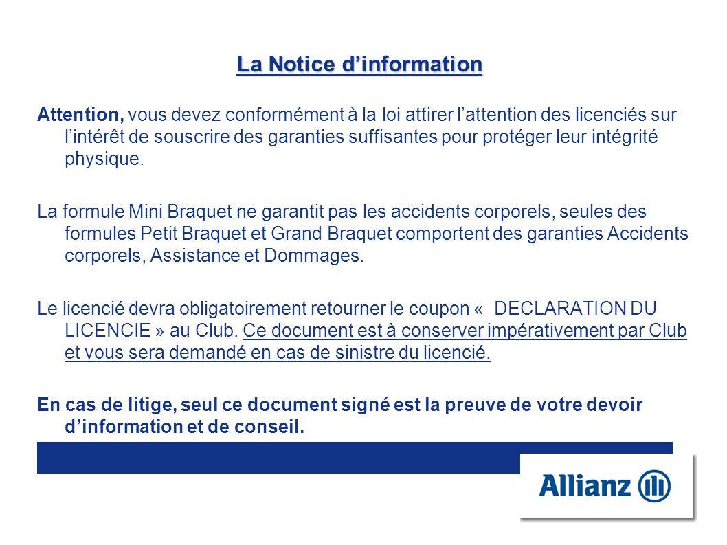 La Notice dinformation Attention, vous devez conformément à la loi attirer lattention des licenciés sur lintérêt de souscrire des garanties suffisante