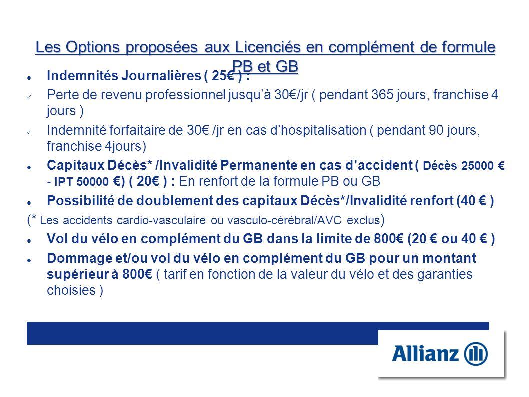 Les Options proposées aux Licenciés en complément de formule PB et GB Indemnités Journalières ( 25 ) : Perte de revenu professionnel jusquà 30/jr ( pe