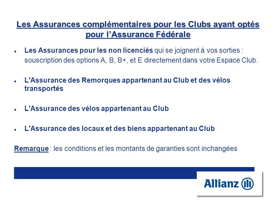 Les Assurances complémentaires pour les Clubs ayant optés pour lAssurance Fédérale Les Assurances pour les non licenciés qui se joignent à vos sorties