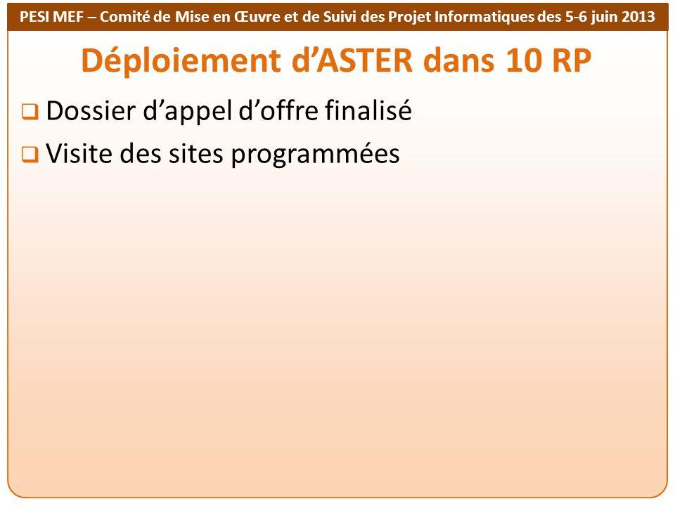 PESI MEF – Comité de Mise en Œuvre et de Suivi des Projet Informatiques des 5-6 juin 2013 Déploiement dASTER dans 10 RP Dossier dappel doffre finalisé