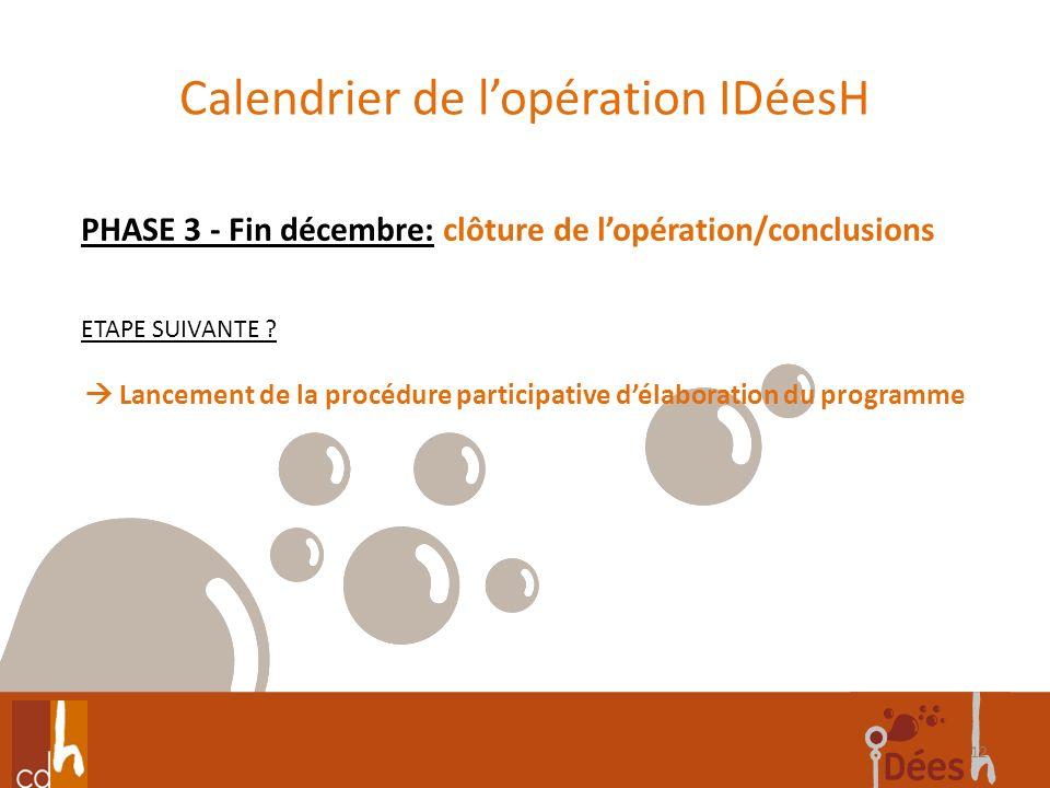Calendrier de lopération IDéesH 12 PHASE 3 - Fin décembre: clôture de lopération/conclusions ETAPE SUIVANTE ? Lancement de la procédure participative