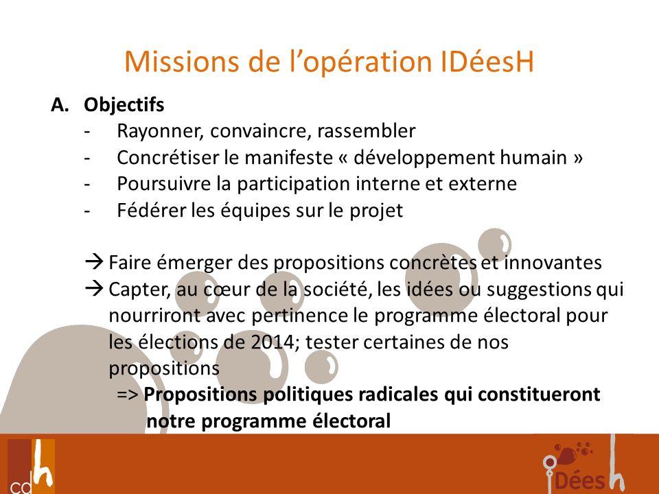 Missions de lopération IDéesH 4 A.Objectifs -Rayonner, convaincre, rassembler -Concrétiser le manifeste « développement humain » -Poursuivre la partic