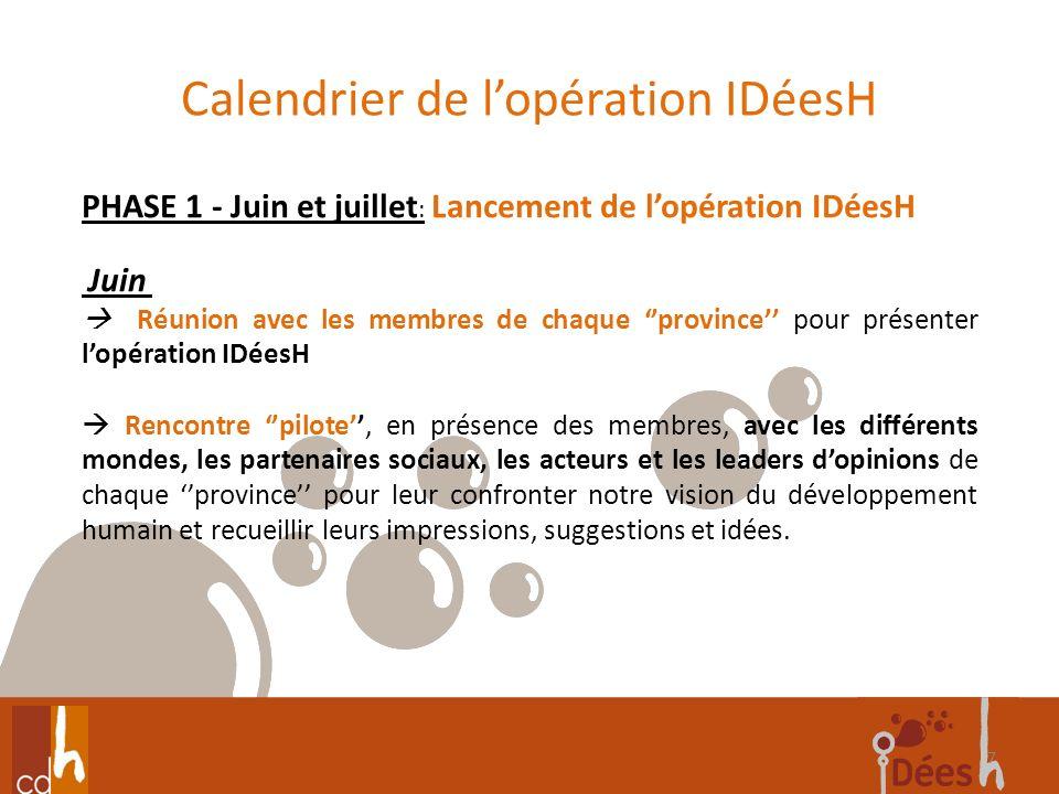 Calendrier de lopération IDéesH 7 PHASE 1 - Juin et juillet : Lancement de lopération IDéesH Juin Réunion avec les membres de chaque province pour pré