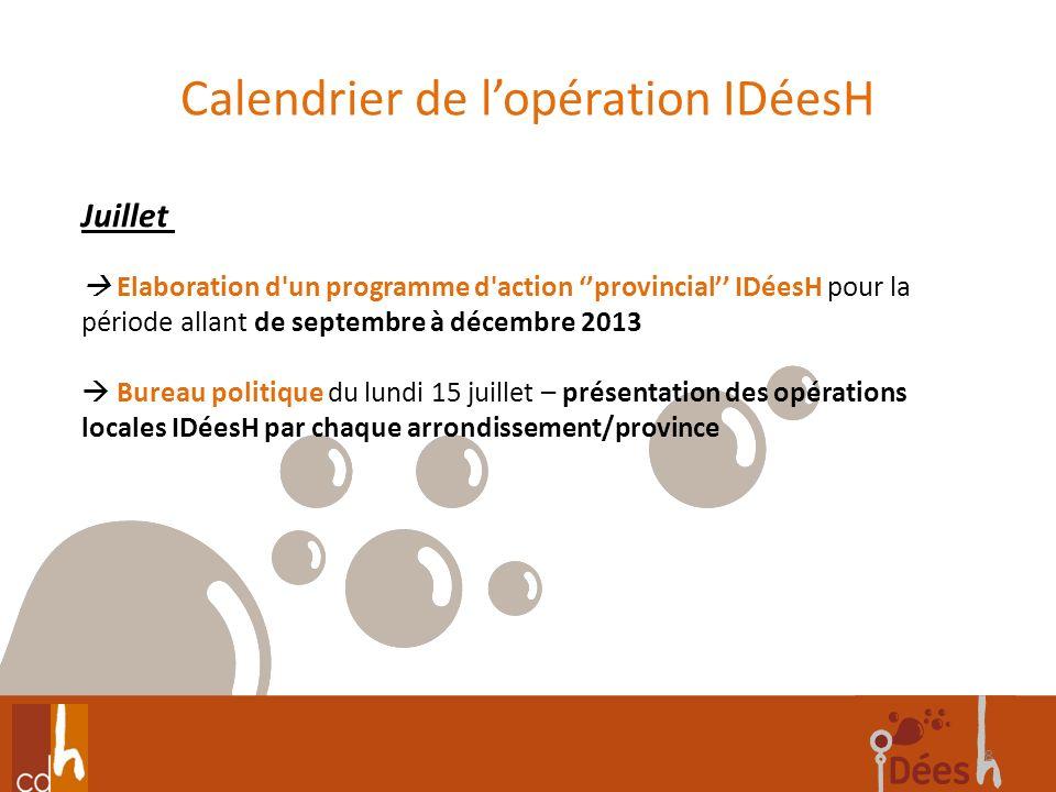 Calendrier de lopération IDéesH 8 Juillet Elaboration d'un programme d'action provincial IDéesH pour la période allant de septembre à décembre 2013 Bu