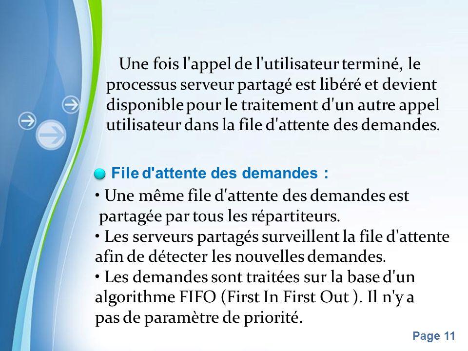Pour plus de modèles : Modèles Powerpoint PPT gratuitsModèles Powerpoint PPT gratuits Page 11 Une fois l appel de l utilisateur terminé, le processus serveur partagé est libéré et devient disponible pour le traitement d un autre appel utilisateur dans la file d attente des demandes.