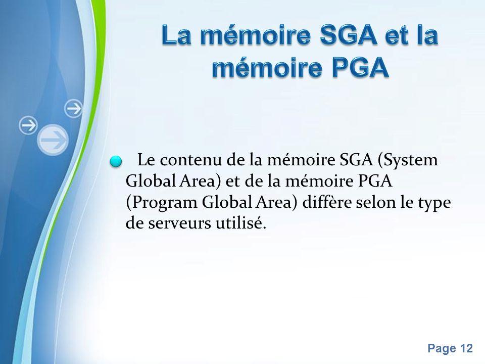 Pour plus de modèles : Modèles Powerpoint PPT gratuitsModèles Powerpoint PPT gratuits Page 12 Le contenu de la mémoire SGA (System Global Area) et de la mémoire PGA (Program Global Area) diffère selon le type de serveurs utilisé.